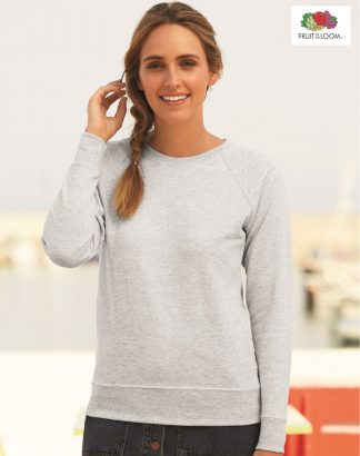 SS180 Lady-Fit Raglan Sweat, Fruit of the Loom, Heather Grey