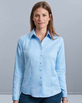 962F Ladies Long Sleeve Herringbone Shirt