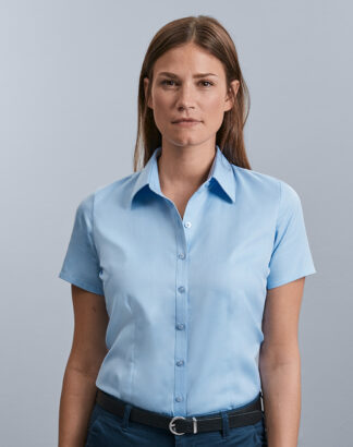 963F Ladies Short Sleeve Herringbone Shirt