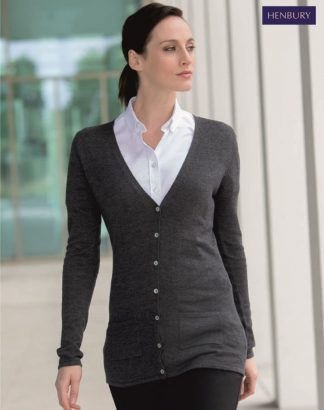 H723 Ladies V Neck Cardigan, Henbury
