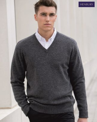 H730 Lambwool V Neck Jumper, Henbury