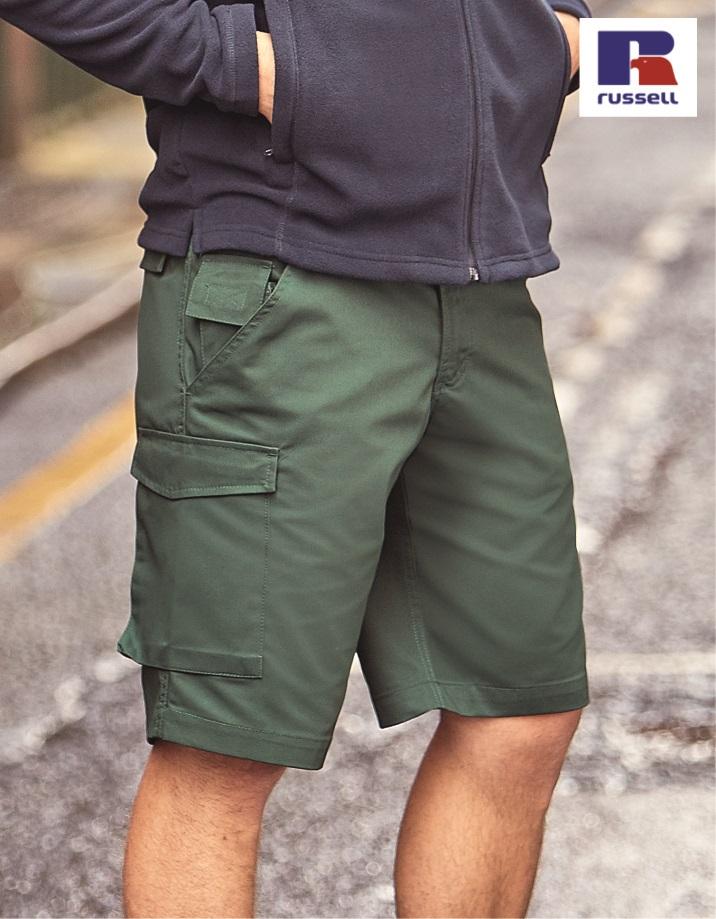 002M Workwear Work Shorts, Russell, Bottle Green