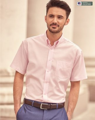 933M Men's Short Sleeve Oxford Shirt, Russell Collection, Classic Pink