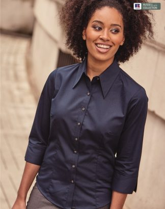 954F Ladies 3/4 Sleeve Tencel Fitted Shirt, Russell Collection, Navy